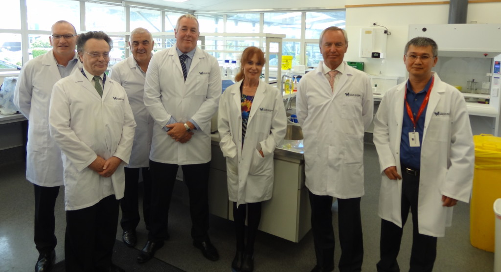 Left to right – NZCT Grants Manager, Tony Gill, GMRI Chief Scientific Officer, Dr Paul Davis, NZCT Wellington Regional Advisory Committee Chairman, Paul Elenio, NZCT Chief Executive, Mike Knell, NZCT Compliance and Regulatory Manager, Rae Mazengarb, NZCT Chairman, Alan Isaac and Dr Swee Tan