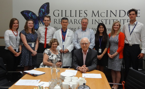 Lady Deane and Sir Roderick with GMRI summer students from left, Ranui Baillie, Emily Keane, Max Blackwell, Dr Swee Tan and GMRI Chair, Paul Baines, Elysia Tan, Lucy Sulzberger and Sam Siljee